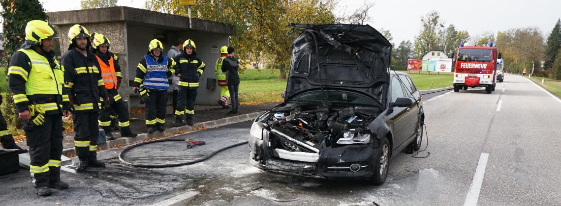 Fahrzeugbrand nach Verkehrsunfall auf der B131