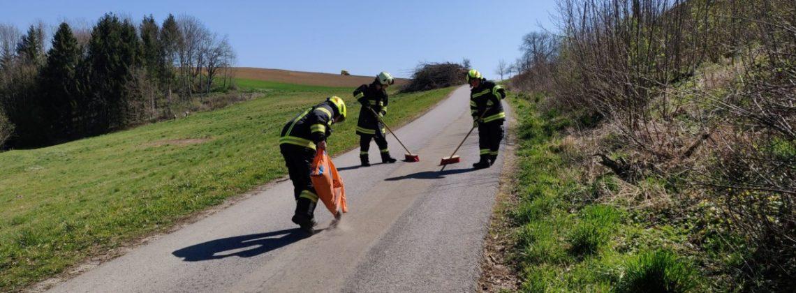 Einsatzgruppe beim Beseitigen einer Ölspur